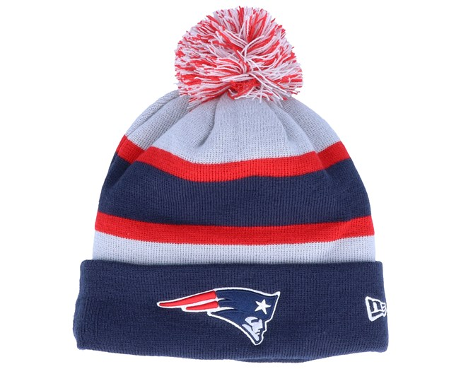 New England Patriots NFL Striped Cuff Knit Navy/Red/Grey Pom - New Era