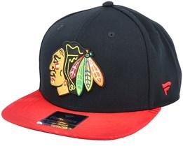 Chicago Blackhawks Iconic Defender Black/Athletic Red Snapback - Fanatics