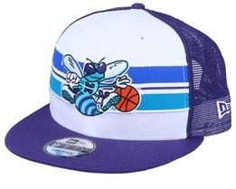 Charlotte Hornets Stripe 9Fifty White/Purple Trucker - New Era