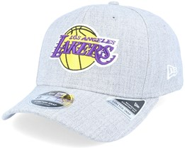 LA Lakers Heather Base 9Fifty Stretch Snap Heather Grey/Purple Adjustable - New Era