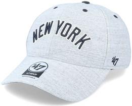 New York Yankees Storm Cloud Script Mvp Heather Grey/Navy Adjustable - 47 Brand