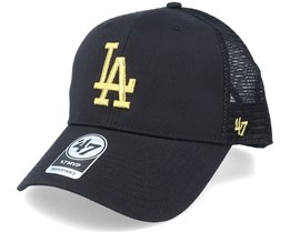 Los Angeles Dodgers Branson Metallic Mvp Black/Gold Trucker - 47 Brand