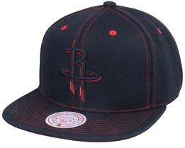 Houston Rockets Contrast Stitch Black Snapback - Mitchell & Ness