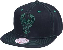 Milwaukee Bucks Contrast Stitch Black Snapback - Mitchell & Ness