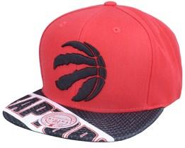 Toronto Raptors Slash Century Red/Black Snapback - Mitchell & Ness