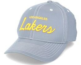 LA Lakers Reflective Stripe Grey/Yellow Adjustable - Mitchell & Ness