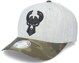 Milwaukee Bucks Heather Grey/Camo 110 Adjustable - Mitchell & Ness