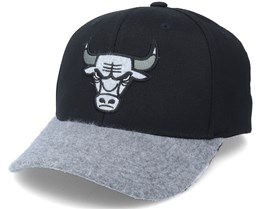 Chicago Bulls Greytone Fleece Black/Heather Grey 110 Adjustable - Mitchell & Ness