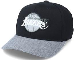 LA Lakers Greytone Fleece Black/Heather Grey Adjustable - Mitchell & Ness