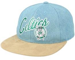 Boston Celtics Denim Script Deadstock Denim/Suede Snapback - Mitchell & Ness