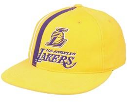 LA Lakers Team Stripe Deads Yellow Snapback - Mitchell & Ness