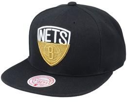 Brooklyn Nets Gold Dip Down Black Snapback - Mitchell & Ness