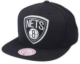 Brooklyn Nets Pop Back Black Snapback - Mitchell & Ness