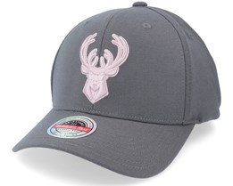 Milwaukee Bucks Pink Cast Charcoal Grey Adjustable - Mitchell & Ness