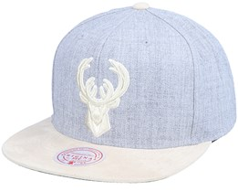 Milwaukee Bucks Heather Suede Heather Grey Snapback - Mitchell & Ness
