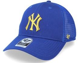 New York Yankees Branson Metallic Mvp Royal/Gold Trucker - 47 Brand