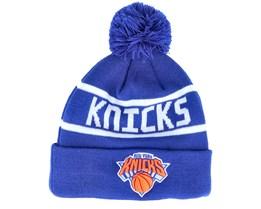 New York Knicks Team Jake Bobble Cuff Blue Pom - New Era