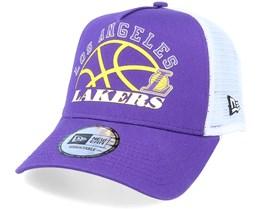 LA Lakers NBA Graphic A-Frame Purple/White Trucker - New Era