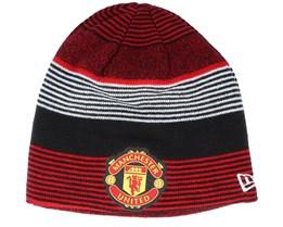 Manchester United Reversible Skull Knit Scarlet/black Beanie - New Era