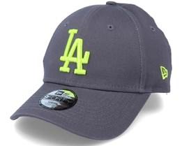 Kids Los Angeles Dodgers League Essential 9Forty Dark Grey/Neon Adjustable - New Era