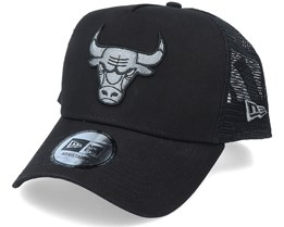 Chicago Bulls Bob Team Logo 9Forty A-Frame Black Trucker - New Era