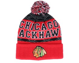 Kids Chicago Blackhawks Puck Pattern Cuffed Red/Black Pom - Outerstuff