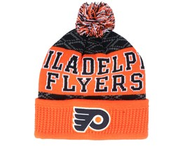 Kids Philadelphia Flyers Puck Pattern Cuffed Orange/Black Pom - Outerstuff