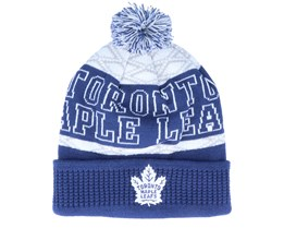 Kids Toronto Maple Leafs Puck Pattern Cuffed Blue/White Pom - Outerstuff
