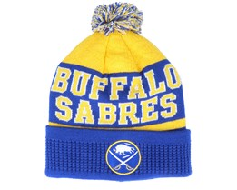 Kids Buffalo Bills Puck Pattern Cuffed Royal/Yellow Pom - Outerstuff