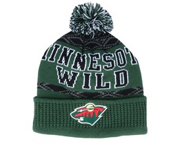 Kids Minnesota Wild Puck Pattern Cuffed Green Pom - Outerstuff