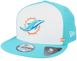 Miami Dolphins NFL 20 Side Lines Home Em 9Fifty OTC White/Teal Snapback - New Era