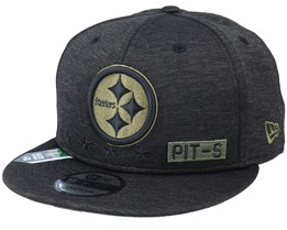 Pittsburgh Steelers Salute To Service NFL 20 Heather Black Snapback - New Era