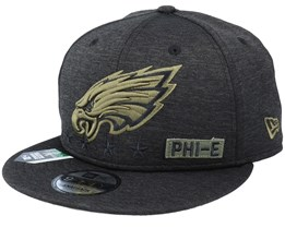 Philadelphia Eagles Salute To Service NFL 20 Heather Black Snapback - New Era