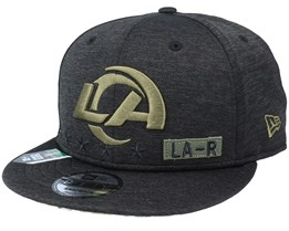 Los Angeles Rams Salute To Service NFL 20 Heather Black Snapback - New Era