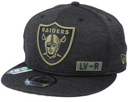 Las Vegas Raiders Salute To Service NFL 20 Heather Black Snapback - New Era