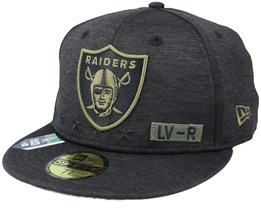 Las Vegas Raiders Salute To Service NFL 20 Heather Black Fitted - New Era