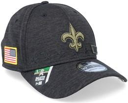 New Orleans Saints Salute To Service 39Thirty NFL 20 Heather Black Flexfit - New Era