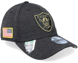 Las Vegas Raiders Salute To Service 39Thirty NFL 20 Heather Black Flexfit - New Era