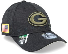 Green Bay Packers Salute To Service 39Thirty NFL 20 Heather Black Flexfit - New Era