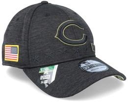 Chicago Bears Salute To Service 39Thirty NFL 20 Heather Black Flexfit - New Era