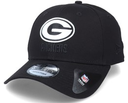 Green Bay Packers Black Base 9Forty Black/White Adjustable - New Era