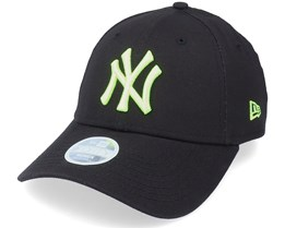 New York Yankees Womens League Essential 9FORTY Black/Neon Green Adjustable - New Era