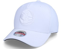 Brooklyn Nets White Out Stretch White Adjustable - Mitchell & Ness