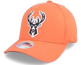 Milwaukee Bucks Vis Red Snapback Orange Adjustable - Mitchell & Ness