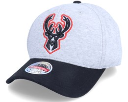 Milwaukee Bucks 186 Red Snapback Grey/Black Adjustable - Mitchell & Ness