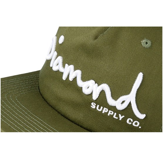 e9322c2f57d Og Script Unstructured Olive Snapback - Diamond cap - Hatstore.co.in