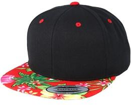Hawaiian Black/Red Snapback - Yupoong