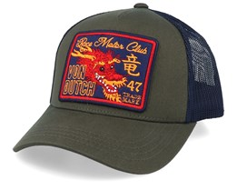 Dragon Race Motor Club Patch Olive/Navy Trucker - Von Dutch