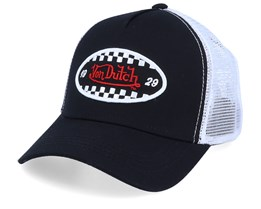 Oval Patch Check Black/White Trucker - Von Dutch