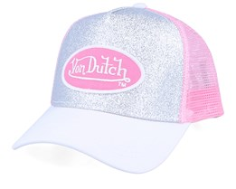 Oval Patch Glitter Silver/White/Pink Trucker - Von Dutch